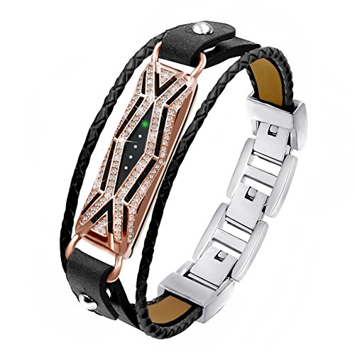 TENGL Compatible Fitbit Flex 2 Bands Bracelet, Adjustable Replacement Genuine Leather Braided Wristbands Metal Clasp with Rhinestone Large Small