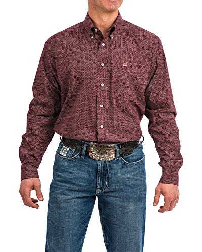 Cinch Men's Classic Fit Long Sleeve Button One Open Pocket Print Shirt, Brandy Purple L