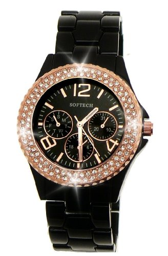 Damenuhren schwarz rosegold  Extravagante Damenuhr,Damen designer Strass Uhr in Chronograph ...
