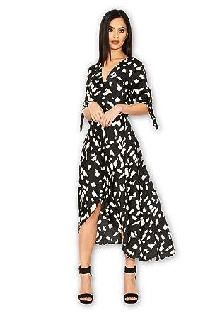 b366191aeaf33 AX Paris Women's Animal Wrap Print Dress at Amazon Women's Clothing ...