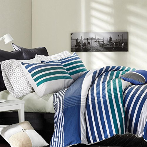 3-Piece-Off-White-Teal-Navy-Blue-Rugby-Stripes-Duvet-Cover-Full-Queen-Set-Madras-Plaid-Bedding-Striped-Nautical-Colors-Urban-Shades-Sports-Themed-Stylish-Cotton