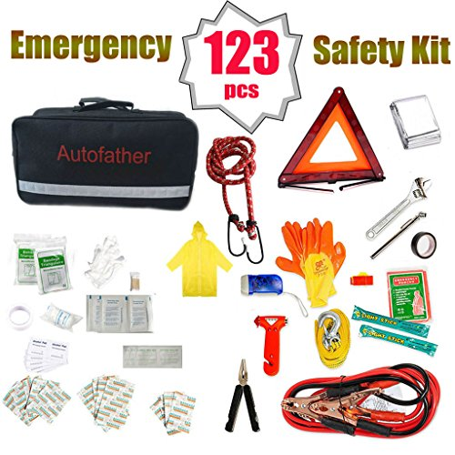 Auto Emergency Safety Kit 123 Pieces All-in-One Repair Tool Sets Jumper Cables Flashlight Safety Triangle First Aid Pack Bandage for Car Truck Accident Breakdown