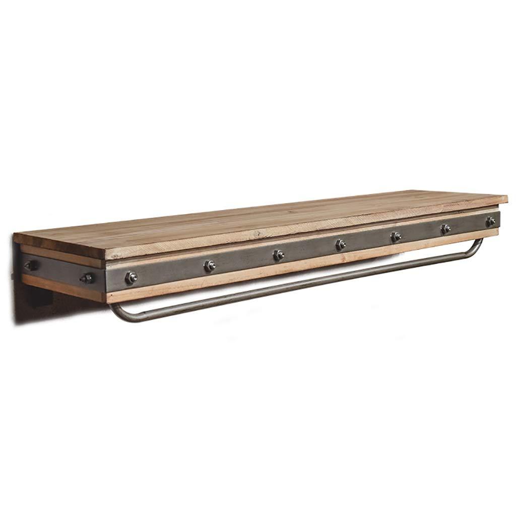 レトロ産業風多機能壁掛け無垢材のクローゼット棚服ラックアイアンハンガーブックスタンドディスプレイスタンド   B07P984RR3