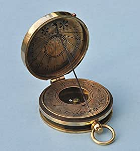 Engraved Antique Patina Pocket Sundial Compass with Cord Gnomon