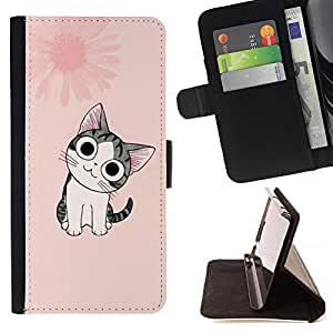 DEVIL CASE - FOR Samsung Galaxy Note 3 III - Cute Japanese Pink Cat - Style PU Leather Case Wallet Flip Stand Flap Closure Cover
