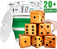 Splinter Woodworking Co Yardzee, Farkle & 20+ Games - Giant Yard Dice Set (All Weather) with Collapsible B