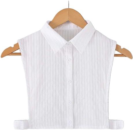 JOYKK Mujer Camisa Blanca con Cuello Falso y Rayas Verticales con Solapa Desmontable Media Camisa - 1# Puntiaguda: Amazon.es: Hogar