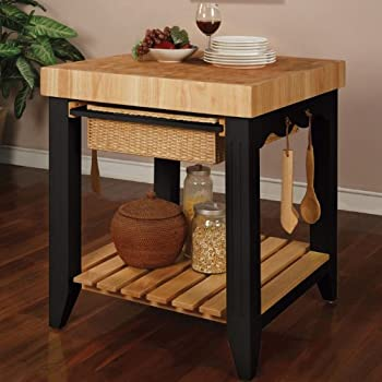 Amazon.Com: Powell Color Story Black Butcher Block Kitchen Island