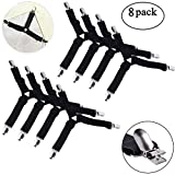 Youngneer Bed Sheet Holder Straps Fasteners Fitted Sheets Mattress Covers Sofa Cushion Triangle Adjustable Suspenders Clips Gripper Black 8 Pack