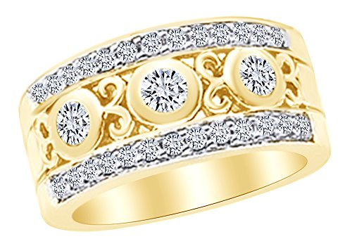 Band Etruscan Anniversary - White Natural Diamond Etruscan Anniversary Band Ring in 14k Yellow Gold (1 Cttw) Ring Size : 14