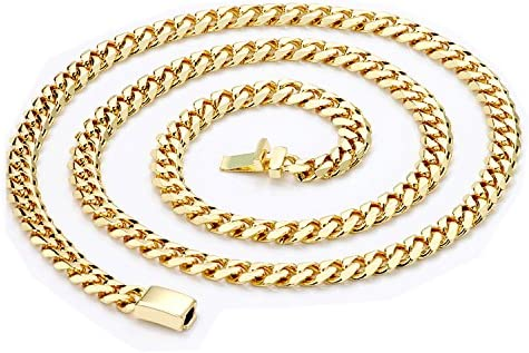 """24/"""" Gold Chain Cuban Necklace 9MM Miami Link w//Real Solid Clasp 24K USA Patented"""