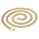 14K Gold Chain Necklace 11MM Smooth Cuban Curb Link Tarnish Resistant fashion Jewelry Diamond Cut for Men (24)
