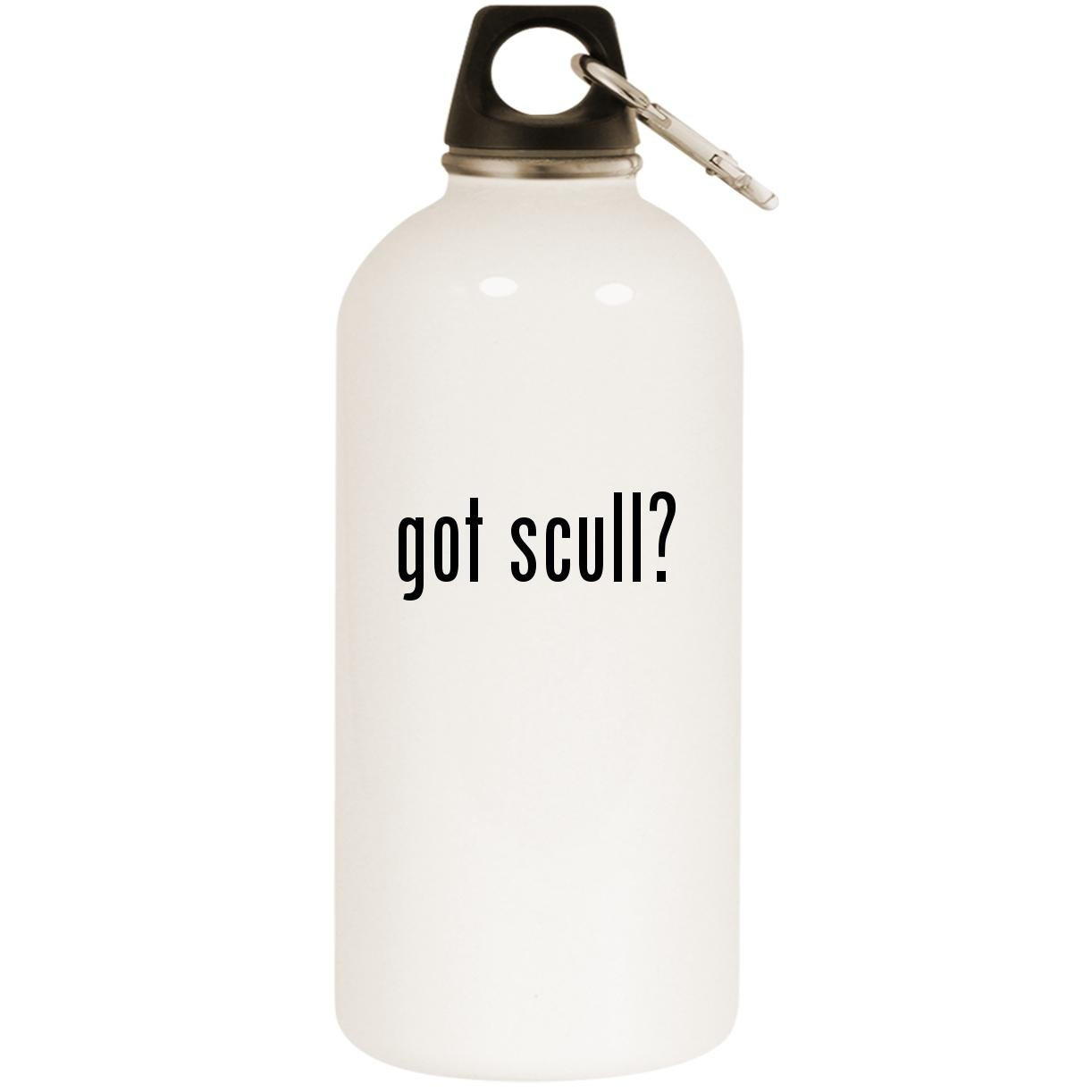 got scull? - White 20oz Stainless Steel Water Bottle with Carabiner