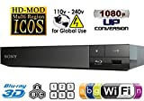 SONY S5500 2D/3D Multi System Region Free Zone Free Blu Ray Disc DVD Player - PAL/NTSC - Wi-Fi - Comes with 110-240 Volt to use World-Wide & 6 Feet HDMI Cable