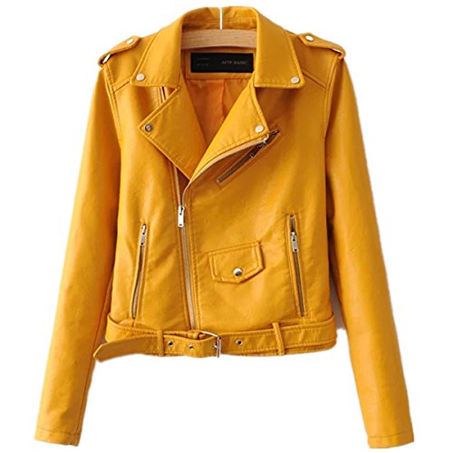 Yougao Womens Punk Long Sleeve PU Leather Coat Zip up Short Motocycle Jacket Yellow L (US XL)