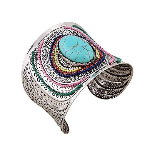 Antique Jewelry Cuff Wide Beads Fashion Boho Bracelets Women Bangle Turquoise by Jirachayastore