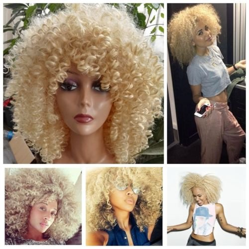 Curly Wigs Afro (Lady Miranda Blonde Kinky Curly Wig Middle Part Afro Curly Medium Length Heat Resistant Synthetic Hair Full Wigs For Women)