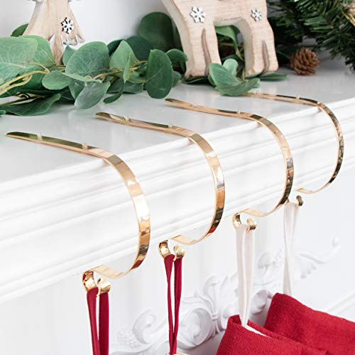 LUBOTS Set of 4 Metal Christmas Stocking Holder Hooks Fireplace Hanger with Non-Skid Design Gold