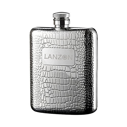 LANZON Hip Flask with Funnel, All 18/8 304 Food Grade Stainless Steel Curved Pocket Flask for Liquor | 6 OZ Capacity | Gift Boxed (Cobblestones Pattern)
