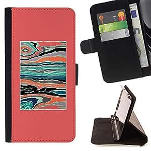 For Sony Xperia Z1 L39 Case , Abstract Pink Teal Paint Syrreal- la tarjeta de Crédito Slots PU Funda de cuero Monedero caso cubierta de piel