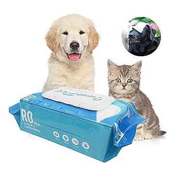 KOBWA Toallitas para Mascotas, toallitas de Aseo Toallitas desodorantes para Perros y Gatos Limpieza de la Cara Mascotas Toallitas para Mascotas ...