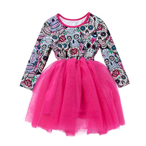 Baby Girls Halloween Clothes,Leegor Newborn Long Sleeve Cartoon Skull Princess Dress Clothes ()