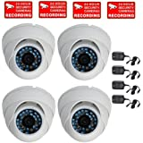 VideoSecu 4 CCTV Infrared Night Vision Outdoor Dome Security Cameras IR Color CCD 480TVL 3.6mm Wide View Angle Lens with Free Power Supplies and Security Warning Decals W76