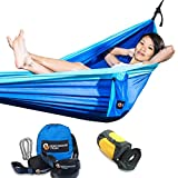 "What is the Secret to A Comfortable Camping Hammock? THE SECRET IS ""THE IDEAL DIAGONAL"": Hammock bed comfort comes from lying flat with your head slightly higher than your feet. Your feet should touch the outer parachute hammock edge opposite your he..."
