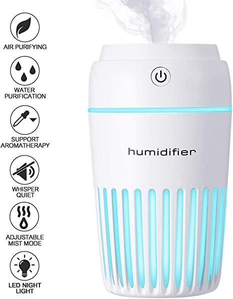 Auto Shut-Off and Night Light Function Humidifiers for Baby Home Office Essential Oil Diffuser 200ml USB 7 LED Light Humidifier with Whisper-Quiet Operation Black Cool Mist Humidifier