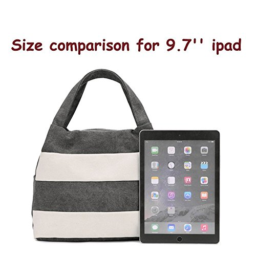 Grey Canvas Hobo Stripes Packages Travel Handbag Casual Bag Vintage Purse Bag Daily Shopping Daily Women's q6SAfwx