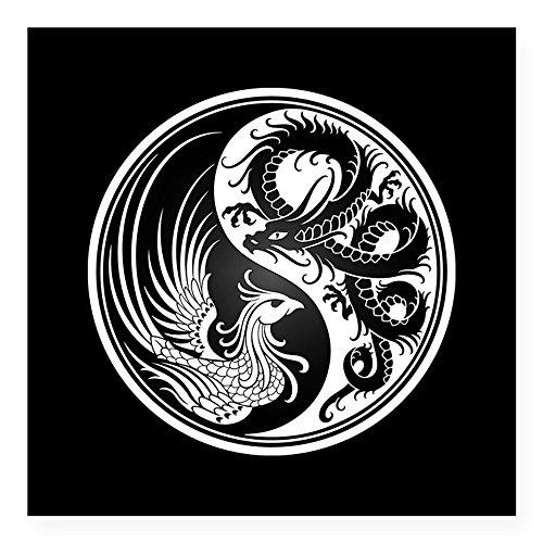 Yang Dragon (CafePress - Dragon Phoenix Yin Yang White And Black Sticker - Square Bumper Sticker Car Decal, 3