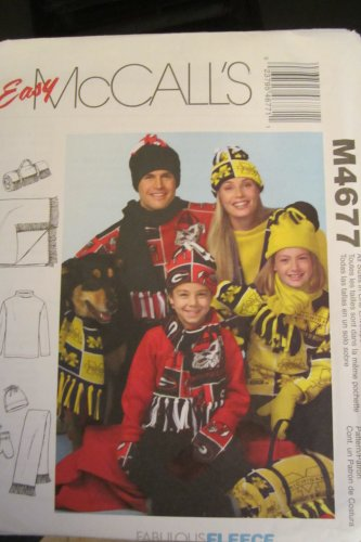 (McCall's 4677 Misses', Men's, Children's Tops, Scarf, Mittens, Hat and Roll-Up Blanket)