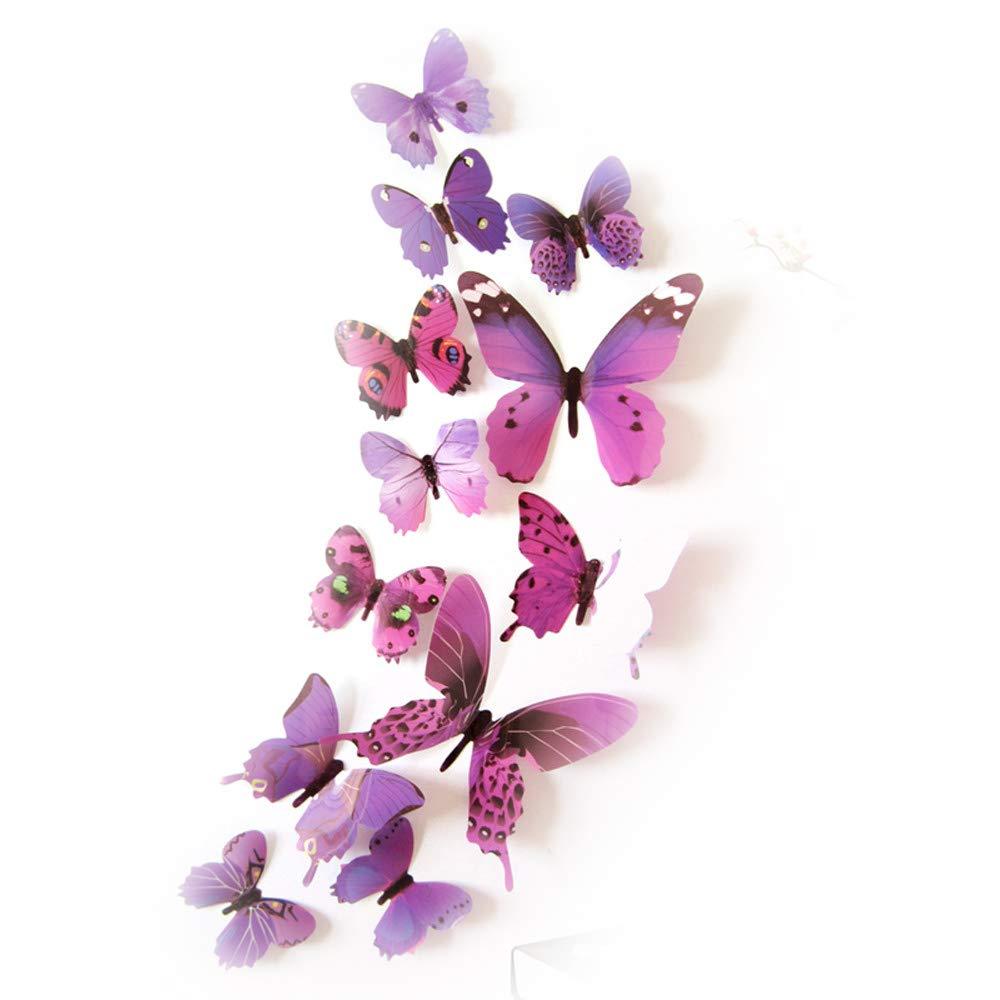 12pc 3D Schmetterling Spiegel Wandaufkleber Dekoration Abnehmbare Wanddeko Wandaufkleber Haus Dekor (Lila2)