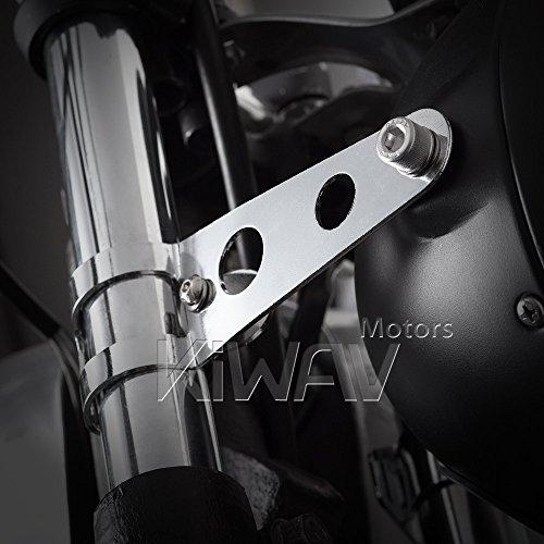 KiWAV Headlight Mount Brackets Fork Ears Chrome for Motorcycle Bobber Chopper Cafe Racer adjustable 30-38mm