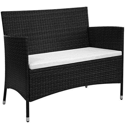 - vidaXL Garden Bench Poly Rattan Wicker Black Cushion Outdoor Seat Chair Patio