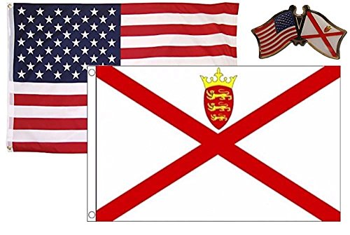 K's Novelties 2 Flag Set with Pin USA & Jersey Islands Count