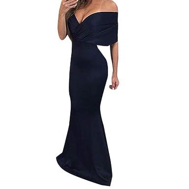 Cloom Elegant Abendkleid Lang Rückenfreies Sexy Kleid Damen Kleider Lang  Wickelkleid V-Ausschnitt Trägerlos Rockabilly 25f135461b