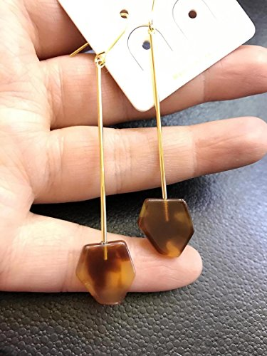 usongs Korea imported genuine long section stick irregular geometric leopard brown amber earrings earrings ear hook earrings