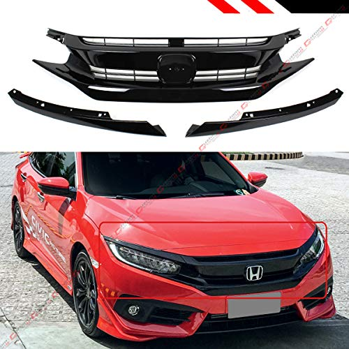 - Fits for 2016-2019 Honda Civic 10th Gen JDM Si RS Style Black Front Hood Grill Grille + Eye Lid Replacement