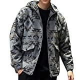 GREFER Men's Fashion Printed Jacket Casual Hoodie Zipper Pocket Oversize Coat Dark Gray