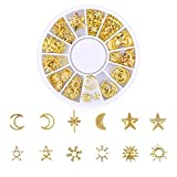 Nail Art Gold Sticker Tips for Girls, Iuhan Ocean Nail Art Studs Gold Charms Summer Sea Metal Alloy Rivets Shell Starfish 3D Hollow Star Punk Sparkly Manicure Tips Decoration Accessories (D)