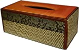 TOPMOST N-9002, Handmade Thai Woven Straw Reed Rectangular Tissue Box Cover with Silk Elephant Design 5x3.7x10.2 Inch