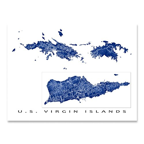 - US Virgin Islands Map Art Print, USVI, St Thomas, St Croix, St John