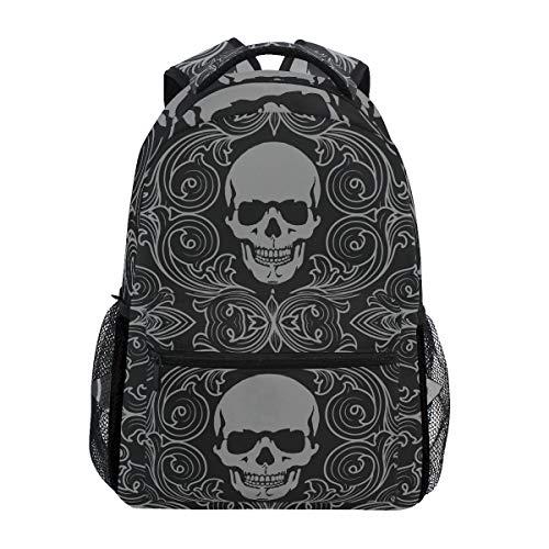 (Halloween Skull Fleur-De-Lis Black Backpack School Bookbag Rucksack Shoulder Book Bag for Boys Girls Women Travel Daypacks)