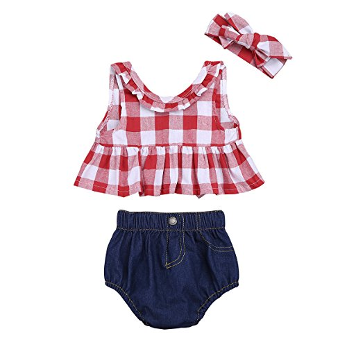 Freebily Ensemble Bébé Fille Haut T-shirt Chemise Carreaux sans Manches    Denim Bloomer Shorts 925234a80e7