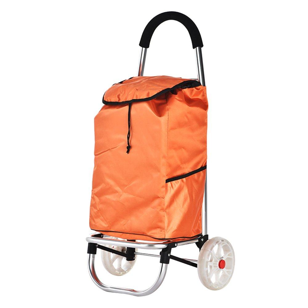 NAN 便利なショッピングカートカート折り畳みトロリーカート トレーラー (色 : オレンジ) B07DZCKT8Z オレンジ オレンジ