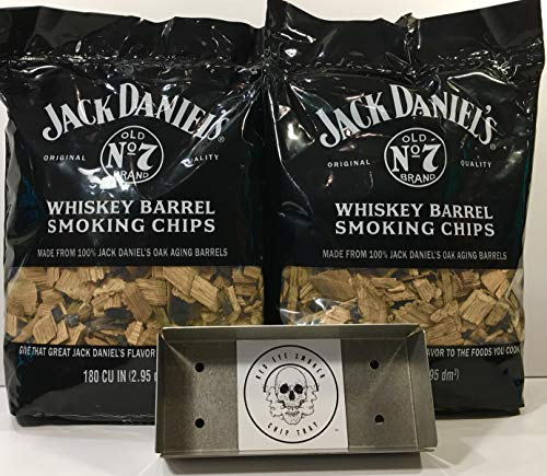 Jack Daniel's Whiskey Barrel BBQ Smoking Chips (2) Pack w/Free Genuine Red Eye Smoker Chip Tray and Cool -