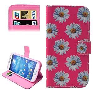 Pink Chrysanthemum Pattern Leather Case with Holder & Card Slots & Wallet for Samsung Galaxy S IV / i9500