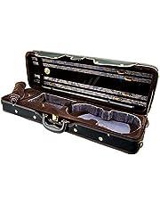 Paititi PTVNQF28 4/4 Full Size Professional Oblong Shape Lightweight Violin Hard Case, Black/Brown