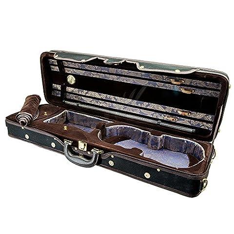 Paititi PTVNQF28 4/4 Full Size Professional Oblong Shape Lightweight Violin Hard Case, Black/Brown (Violin Case 4 4 Hard)
